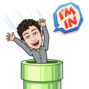 "Adam Kosakowski's bitmoji jumping into a warp pipe saying ""I'm in!"""
