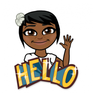 "Jennifer Alexander's bitmoji smiling and saying ""Hello"""