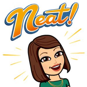 "Nicole Feeney's bitmoji exclaiming ""NEAT!"""