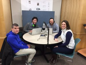 The NEAT Podcast cast in the studio, including Steve Famiglietti, Kris Thompson, and Adam Kosakowski. Also, Nicole Feeney, guest star of the first episode.