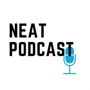 The NEAT Podcast logo with a blue microphone