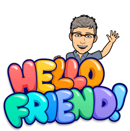 "Thomas Dieli's bitmoji with bit friendly animated letters saying ""Hello Friend!"""