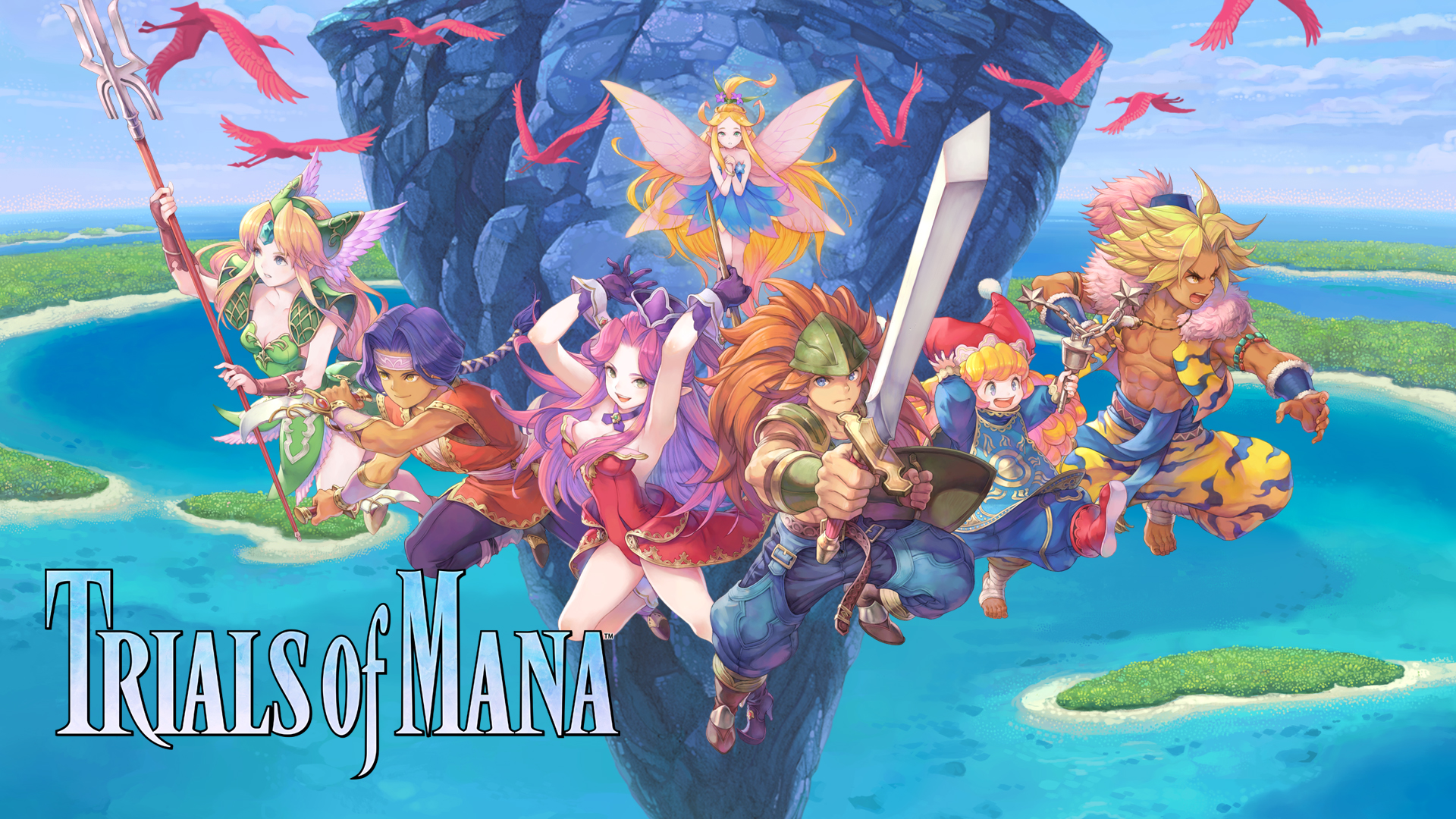 Trials of Mana title with all six main characters jumping out towards the player