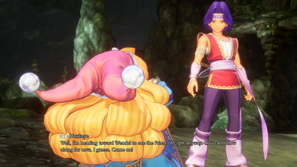 Screen shot of voice acted dialogue text shown with decent contrast, even against the bright yellow character hair serving as the background in the shot.