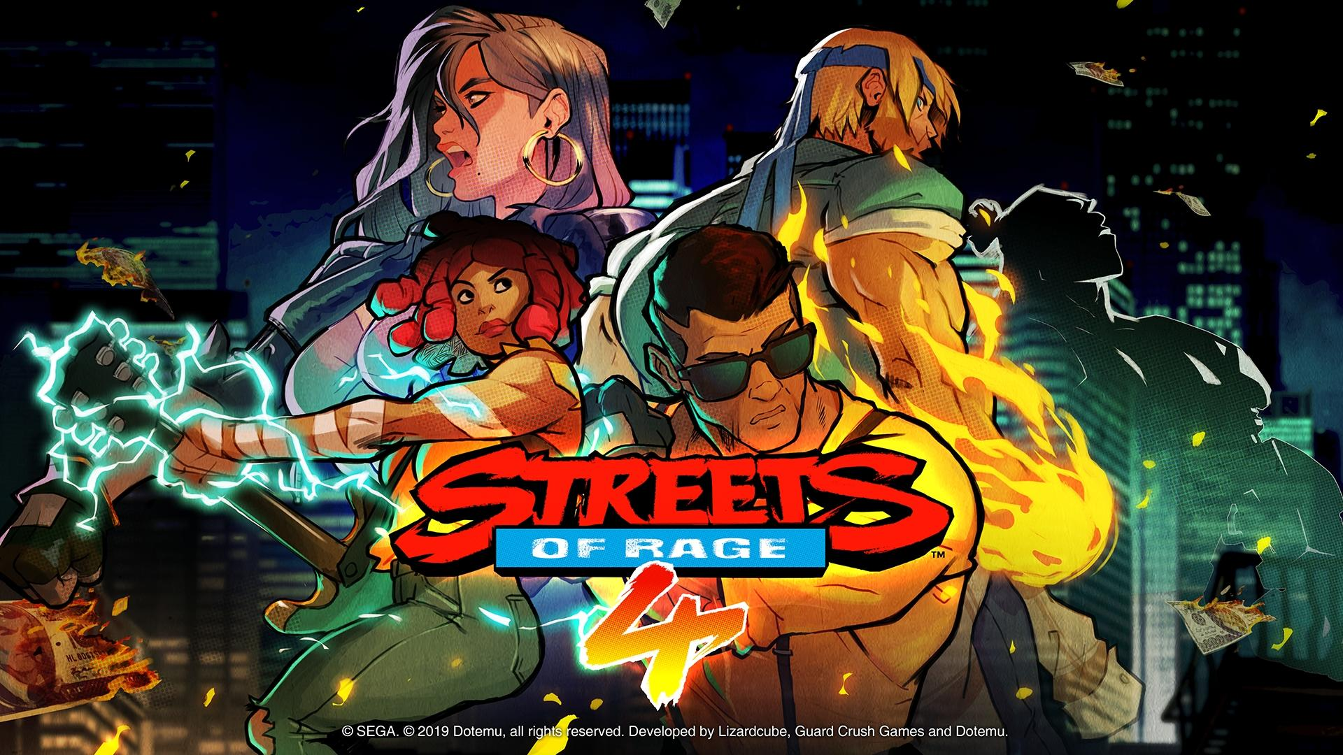 Streets of Rage 4 with four diverse characters ready for a brawl